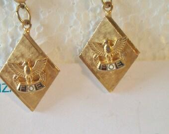 Vintage Fraternal Order Of Eagles Earrings FOE Geometric Costume Jewelry