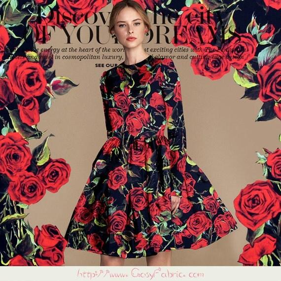 Tissu Élasthanne Satin en soie motifs fleuris - rose, Tissu dété, Tissu à la mode, Tissu pour vêtement, 1m