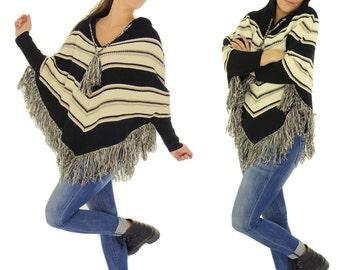 HD100SW ladies sweater poncho Indiostyle knit fringe size XS-L black/beige