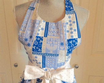 The Daisy • Ladies Apron | Handmade | Full Apron | Cooking Apron | With Pockets | Baking Apron | Vintage Apron | Hannukah Apron
