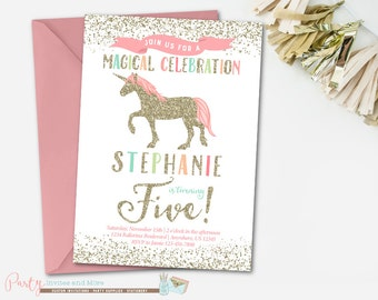 Rainbow Unicorn Birthday Invitation, Pastel Rainbow Unicorn Invitation, Birthday Invitation, Unicorn Birthday Invitation, Unicorn Party
