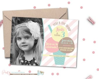 Ice Cream Invitation, Ice Cream Birthday Invitation, Ice Cream Party Invitation, Neapolitan Ice Cream Birthday Invitation, Ice Cream, Summer