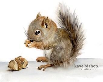 Squirrel Watercolor Painting, Baby Squirrel, Squirrel Eating Nuts, Cute Squirrel, Squirrel Eating Acorns, Squirrel Art, Nursery Art