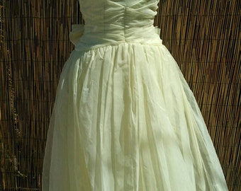 VLV Vintage 50's Emma Domb Scalloped Yellow Organza Prom Dress Size Small