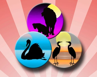 ANIMAL SILHOUETTES - 2.5 inch Digital Collage Sheet for Pocket Mirrors, Magnets, Paper Weights -  Instant Download #230.
