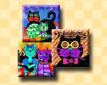COOL CATS -  Digital Collage Sheet 1 inch square images for pendants, earrings, scrap-booking, decoupage etc. Instant Download #235.