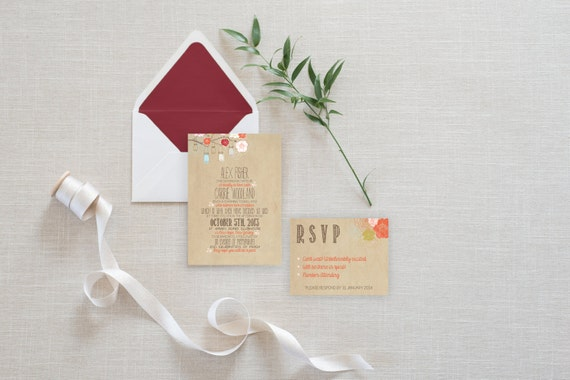 Wedding Invitation Suite DEPOSIT - DIY, Rustic, Kraft, Jars, Floral, Bohemian, Printable, Custom, Barn, Shanty Chic (Wedding Design #6)