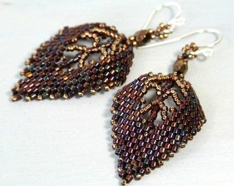 Bronze Leaf Earrings Autumn Earrings, Fall Jewelry Brown Earrings, Unique Jewelry Nature Gifts for Women Nature Jewelry Woven Glass Earrings
