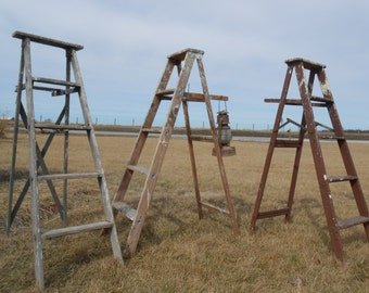 """Antique Wood Ladder with 5 Steps - 58"""" tall - Choose a Vintage Surface or Pick a Color"""