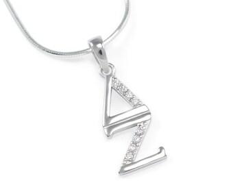 Delta Zeta Sterling Silver Lavaliere set with simulated Diamonds // ΔΖ Sorority Jewelry // Sorority Gifts // Sorority lavaliere // Go Greek
