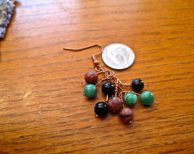 Agate, Emerald and Jasper Gemstone Bead Earrings, Natural 162
