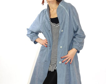 Grey vintage coat, spring coat, women overcoat, grey jacket, trench coat, midi coat, S/M, 38, 80s coat