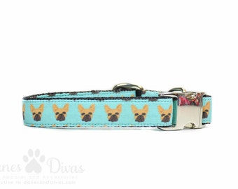 Frenchie Dog Collar - Turquoise French Bulldog Adjustable Aqua Blue Metal Buckle Collar