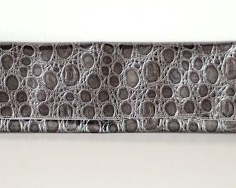 Alligator Skin Clutch, Glossy Grey Foldover Clutch, Silver Interior, Metallic, Vinyl, Party Clutch, Handbag, Foldover Clutch, glossy,