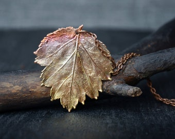 patina leaf necklace copper plating pendant pretty necklace nature gift for woman botanical jewelry fall fashion