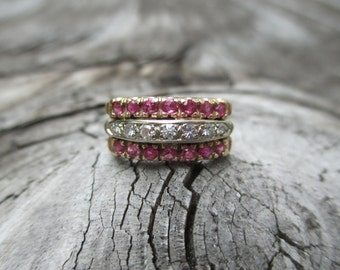 Solid 14K Yellow White Gold Diamond Ring Wide Band Single Cut Diamonds Red Ruby Rubies Unique Wedding Stacking Stackable Conversion 3 Rings