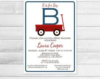 Wagon Boy Baby Shower Invitation, Digital Invite File B is for Boy