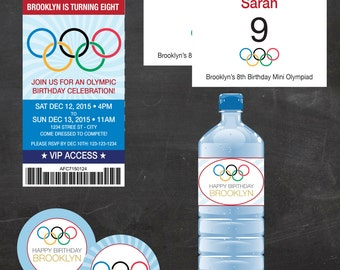 "Olympics Ticket Birthday - Custom Printable Party Pack- Invitation,  2"" circles, registration sign, bibs and water bottle labels"