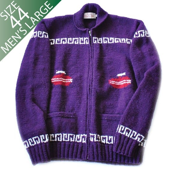 Knitting Patterns For Curling Sweaters : Mens Large Mary Maxim Curling Sweater by CampKitschyKnits ...