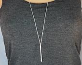 Long silver bar necklace, Skinny bar layering necklace, Skinny bar necklace, Long silver pendant necklace, Long vertical bar necklace SN88