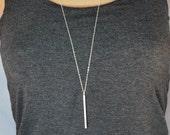 Vertical bar necklace, silver bar necklace, long necklace, minimalist necklace, silver pendant necklace, long silver necklace, gift for mom