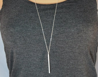 Long silver bar necklace, Skinny bar layering necklace, Skinny bar necklace, Long silver pendant necklace, Long vertical bar necklace