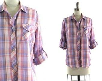1980s purple plaid shirt •  roll up sleeve blouse • pink plaid shirt S/M