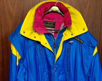 Descente men's long ski coaches coat size mens large blue, yellow hot pink wind proof sports coat after ski