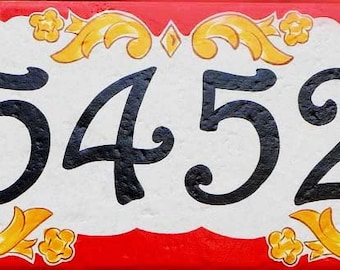 Porcelain house number plaque, ceramic house numbers, address sign, door sign, outdoor sign, Italian ceramic house number, housewarming gift