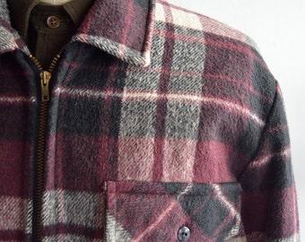 Vintage 1970s Burgundy Plaid Coat by Cal Craft Size Large/Extra Large