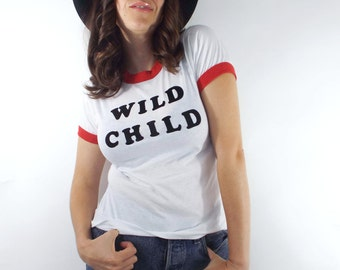 Wild Child Vintage Retro Lettering Red and White Ringer Tee