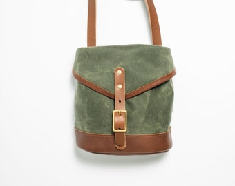 Musette Bag - Olive Green Waxed Canvas and Chestnut Leather with Solid Brass Hardware