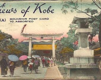 Antique Postcard Folder of Kobe, Japan with ten Post Cards