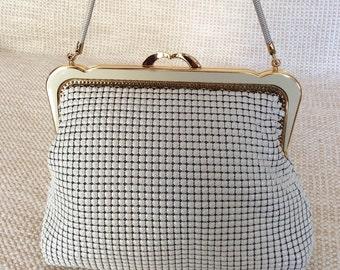Vintage PARK LANE ivory Regal Mesh handbag purse with chain