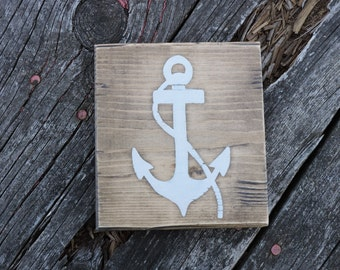 Anchor Hand Painted Sign, Gallery Wall, Wood Block, Wall Image, Anchors, Wall Decoration, Home Decor, Small Sign