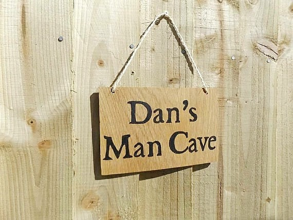 Man Cave Signs Uk : Personalised man cave sign oak wood gift