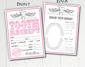 Girls Tooth Fairy Receipts Pink - Printable - Digital File - Baby Kids Children - Teeth Dentist - Momento