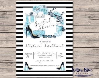Tiffany Bridal Shower Invitation #505, 5x7 or 4x6 Printable, Printable Bridal Shower Invitation