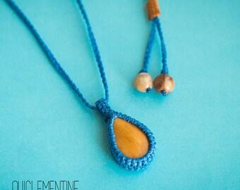 Macrame necklace, mustard blue micro macrame necklace, blue macrame necklace, macrame blue pendant