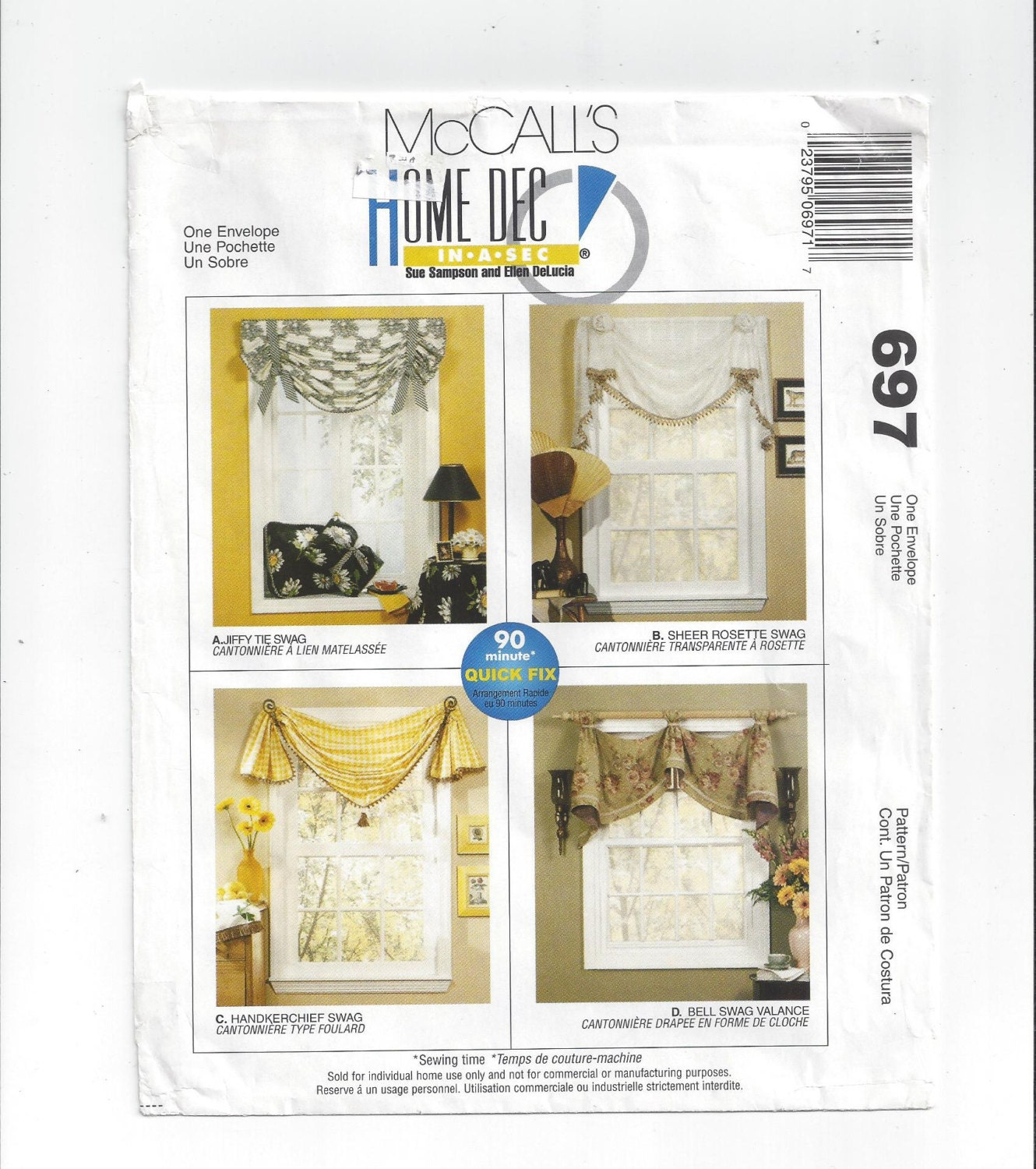 McCall's 697 Pattern For Home Dec In A Sec Window