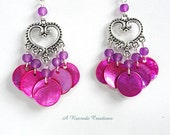 Mussel Shell Earrings / Cascading Shell Earrings / Heart Chandelier Earrings