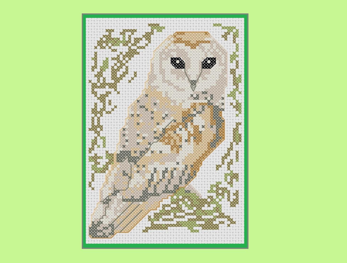 barn owl cross stitch pattern  birds series