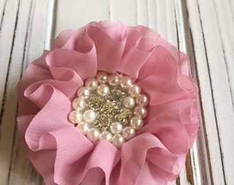Rose / Pink / Mauve Chiffon Flower with Rhinestone and Faux Pearl Center Hair Clip