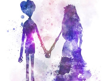 Corpse Bride ART PRINT illustration, Victor and Emily, Movie, Wall Art, Home Decor