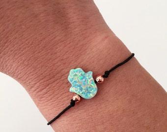 Opal Hamsa Bracelet, Hamsa Bracelet, string bracelet, Dainty bracelet, Friendship bracelet, Hand of Fatima, Opal Hamsa, Gift for her, BOHS