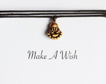 Make A Wish Buddha Bracelet - Bohemian Jewellery, Friendship Bracelet, Gold Buddha Charm, Boho Style, Buddhism, Yoga Gift