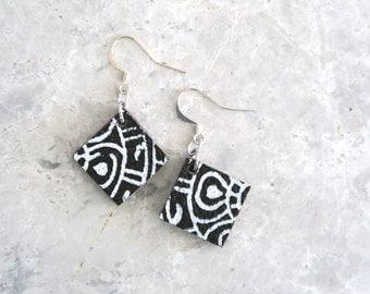 Ethnic Earrings, Dangle Leather Earrings, Tribal Jewellery with Sterling Silver Hooks