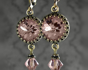 Blush Rose Pink Swarovski Crystal Earrings - Light Pink Stone Vintage Wedding Earrings - Renaissance Victorian Antique Style Jewelry