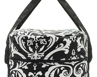 Insulated Crock Pot Slow Cooker Personalized Carrier Tote  Bag  FREE PERSONALIZATION Black Demask Gift Tailgate Party