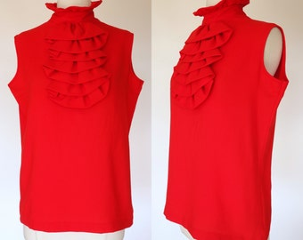 1960s red ruffled blouse, sleeveless, high neck, back button up top, Hollywood blouse by Praw, large